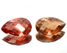 9.37  Cts Natural Orange Tourmaline 2 Pcs Pear Set Mozambique