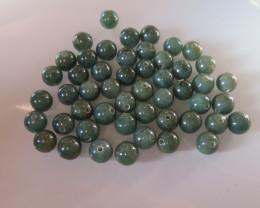 INTERESTING PARCEL 50 GREEN JADE BEADS BURMA 12mm 750cts