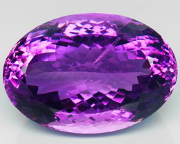 37.65Ct. Natural Rich Purple Amethyst Uruguay Oval Facet Attractive Unheate