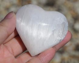 Large Holistic Selenite Heart Palmstone