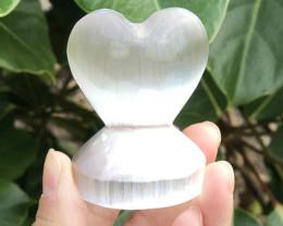 small  Holistic Selenite Heart shape Stand