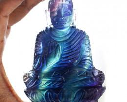 Genuine 1705.00 Cts Multicolor Fluorite Buddha Idol