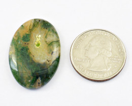 Genuine 34.00 Cts Moss Agate Cabochon