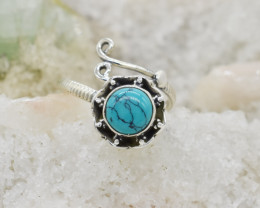 TURQUOISE RING 925 STERLING SILVER NATURAL GEMSTONE JR131