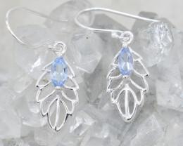 BLUE TOPAZ EARRINGS 925 STERLING SILVER NATURAL GEMSTONE JE211