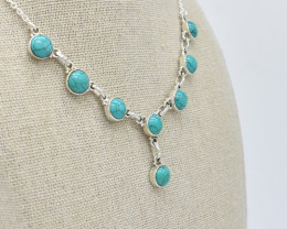 TURQUOISE NECKLACE NATURAL GEM 925 STERLING SILVER JN103