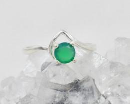 GREEN ONYX RING 925 STERLING SILVER NATURAL GEMSTONE JR183