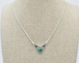 MALACHITE NECKLACE NATURAL GEM 925 STERLING SILVER JN97