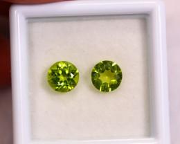 1.71cts Natural Apple Green Colour Peridot Pair / RD109