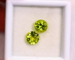 1.84cts Natural Apple Green Colour Peridot Pair / RD131