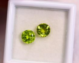 2.02cts Natural Apple Green Color Peridot Pair / RD162