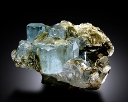 Natural Aquamarine Crystals with Mica Mineral Specimen from Gilgit Pakistan