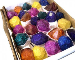 Tray Natural Brazilian Terminated dyed crystal  Specimens