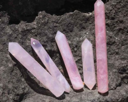 5 xRose Quartz Terminated Point Massage Wands