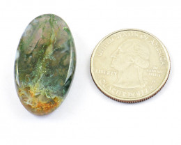 Genuine 39.00 Cts Moss Agate Cabochon