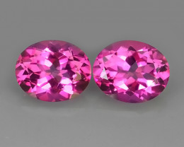 9.10 CTS SUPERIOR! TOP 11X9 MM OVAL CUT PAIR HOT PINK-TOPAZ