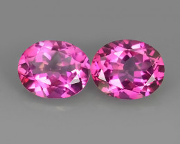 8.65 CTS SUPERIOR! TOP 11X9 MM OVAL CUT PAIR HOT PINK-TOPAZ