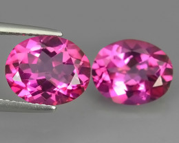 8.20  CTS SUPERIOR! TOP 11X9 MM OVAL CUT PAIR HOT PINK-TOPAZ