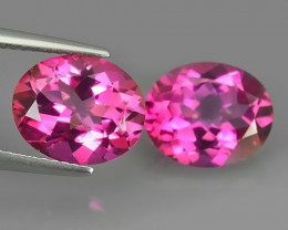 8.70 CTS SUPERIOR! TOP 11X9 MM OVAL CUT PAIR HOT PINK-TOPAZ