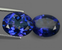 5.80 CTS WONDERFUL TANZANITE COLOR COTED TOPAZ PAIR