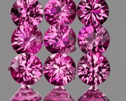 2.80 mm Round Machine Cut 9 pcs 1.00ct Pink Sapphire [VVS]