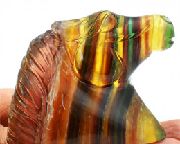 Genuine 800.00 Cts Multicolor Fluorite Horse Head