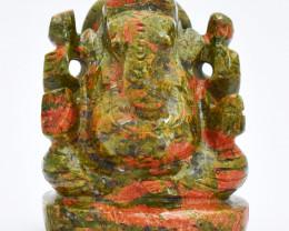 Genuine 1045.00 Cts Blood Green Unakite Ganesha Idol