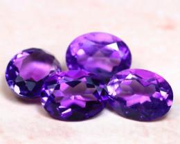 Amethyst 4.49Ct 4Pcs Natural Uruguay VVS Electric Purple Amethyst E1110