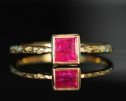 CERTIFIED UNHEATED RUBY ETRUSCAN STYLE STACKABLE 14K GOLD RING