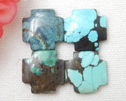 4pcs Turquoise Cabochons ,Handmade Gemstone ,Turquoise Cabochons E731