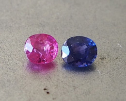1.05ct hot pink and sapphire pair