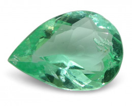 0.66 ct Pear Emerald Colombian - $1 No Reserve Auction