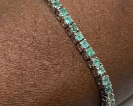 (31) Stunning Natural 37.42tcw. Brazilian Emerald Bracelet Untreated