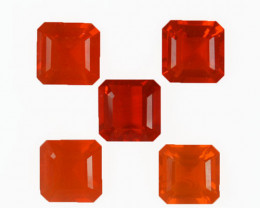 3.76Ct Natural Mexican Fire Opal Square 6mm Parcel