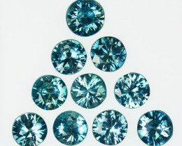 10.50Ct Natural Blue Zircon Round 6mm Parcel Cambodia