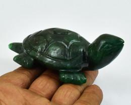Genuine 455.00 Cts Green Jade Carved Turtle
