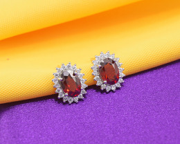 Natural Garnet 925 Sterling Silver Earrings (SSE0652)