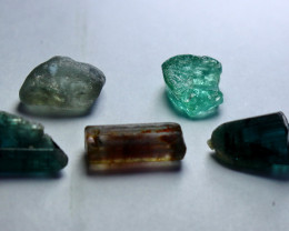 18.90 Cts Beautiful, Superb  Green Tourmaline Crystal Rough Lot