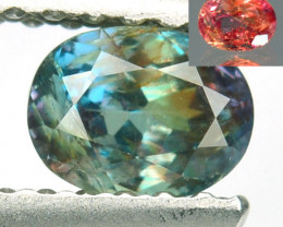 0.58 Cts NATURAL ALEXANDRITE BLUISH GREEN TO ORANGISH RED OVAL CUT