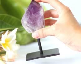 1430 cts Natural  Amethyst  Point  Specimen  on Metal stand CF130
