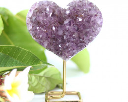 Lover heart Shape   Amethyst    Specimen  on Metal stand .7 Kilo  CF131