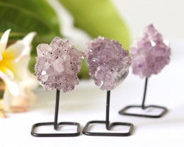3 x Natural  Amethyst  Druzy  Specimens  on Metal stand CF132