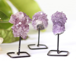 3 x Natural  Amethyst  Druzy  Specimens  on Metal stand CF1