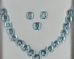 99.17 Cts Stunning Lustrous Aquamarine Cushion Jewellery Set