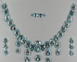 155.46 Cts Stunning Lustrous Aquamarine Cushion Jewellery Set