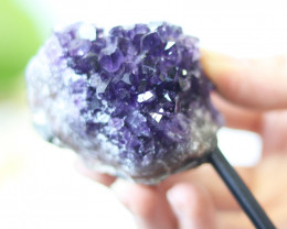 Natural  Amethyst  Druzy Cluster  Specimen  on metal stand   CF167