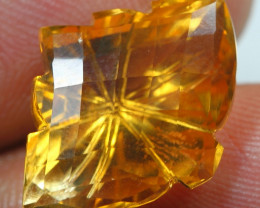 12.40cts  Gold Yellow Citrine Fancy Carving Gemstone