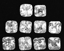 16.95Cts Natural White Zircon Radiant cut 6.00mm Parcel Cambodia