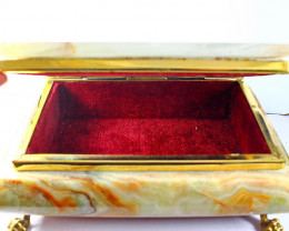 8540 CT Natural - Unheated Onyx Carved Jewelry Box Stone Special Shape