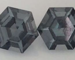 Pretty Hexagonal Cut Grey Spinel Pair - Burma